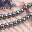 Beads, Glass Imitation pearls, Glass, Grey , Round shape, Diameter 12mm, 7 Beads, [FZZ0062]